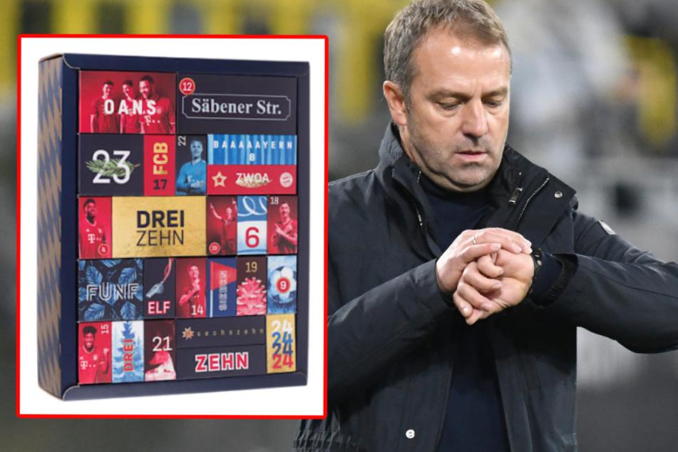 """Den wievielten haben wir? Beim Datum sollte sich Trainer Hansi Flick (55) lieber nicht auf den Bayern-Adventskalender verlassen (unten rechts das Türchen mit """"sechszehn"""")."""