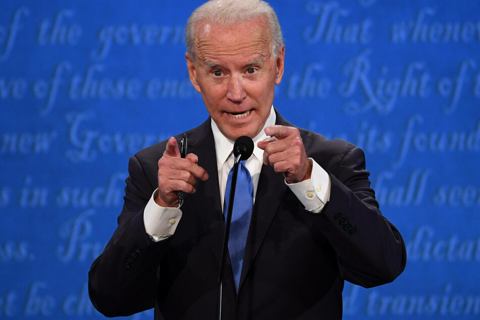 Joe Biden addressing the camera at the second and last presidential debate.