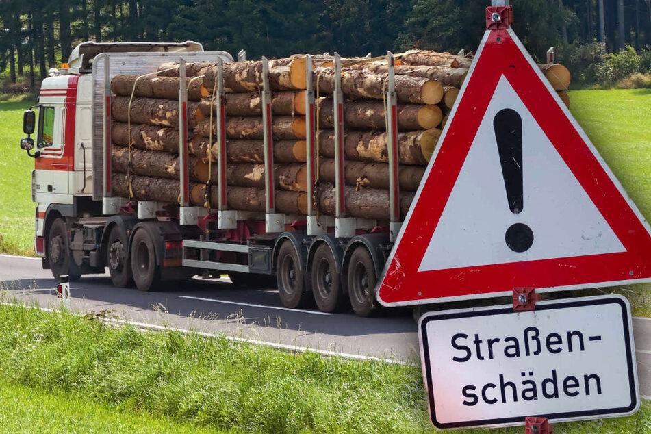 Bürgermeister schlagen Alarm: Holzlaster machen unsere Straßen kaputt!
