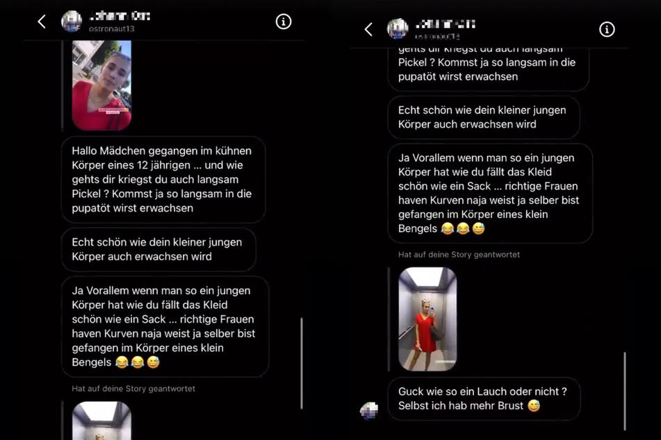 Die Montage zeigt Screenshots zweier Instagram-Storys von Greta Engelfried (21) vom Donnerstag.
