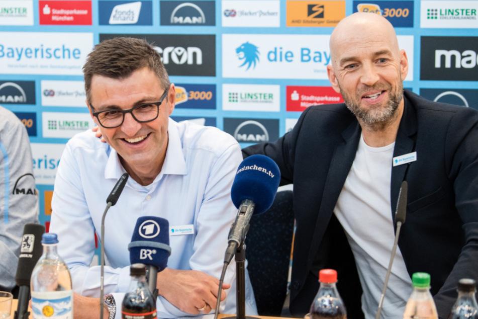 Günther Gorenzel (49, r.), Sportlicher Leiter von 1860 München, und Cheftrainer Michael Köllner (51) geben sich für das Saisonfinale optimistisch.
