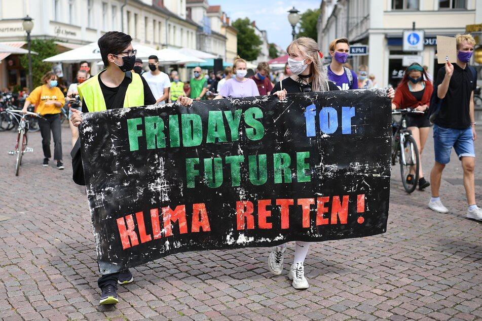"""Demonstranten tragen ein Banner mit der Aufschrift """"Fridays for Future Klima retten""""."""