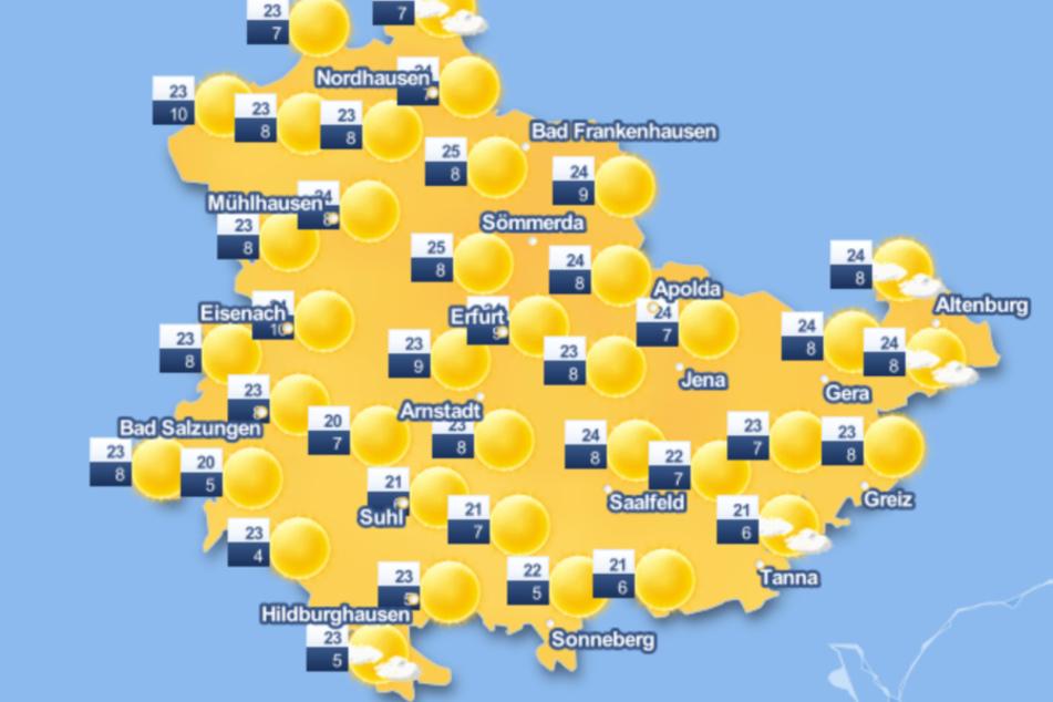 Viel Sonne und hohe Temperaturen sind am Sonntag für Thüringen vorhergesagt.