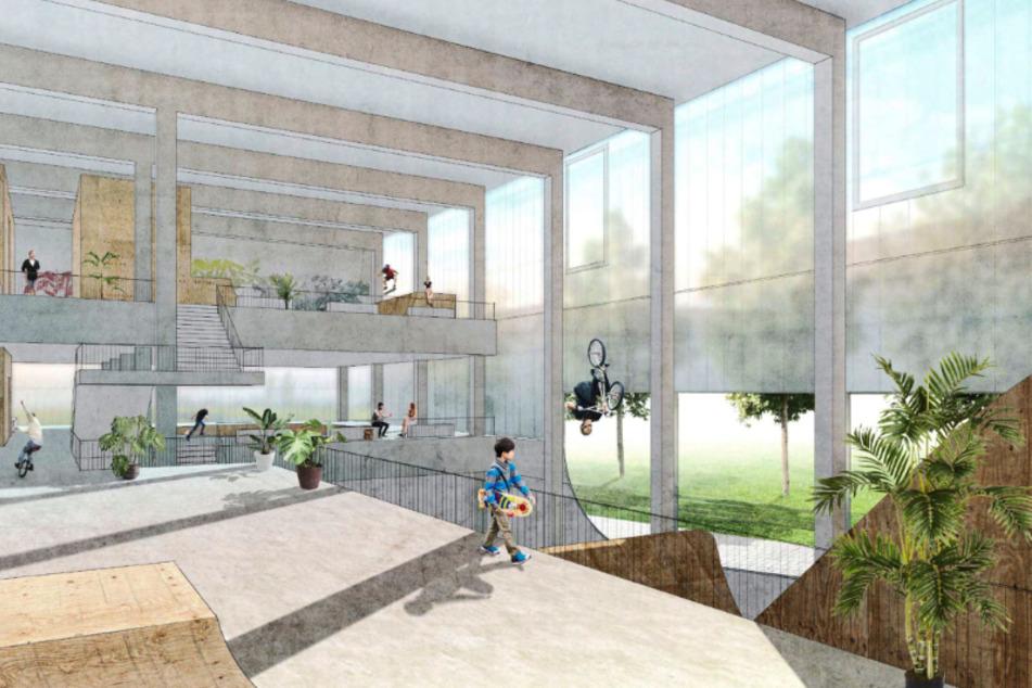 So könnte das Roll- und Funsport-Zentrum am Konkordiapark für knapp 23 Millionen Euro aussehen.