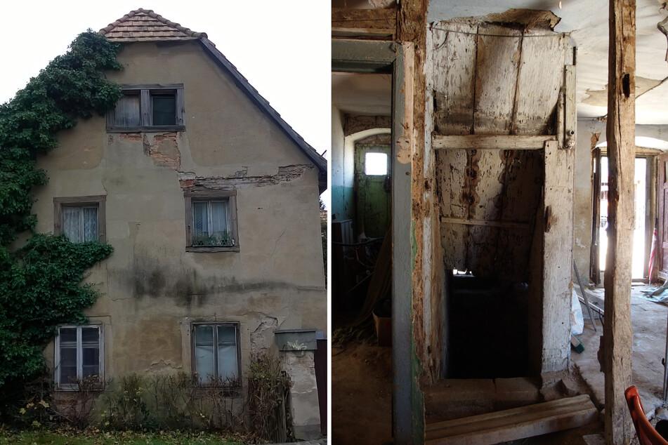 Das Fachwerk von Putz verdeckt, seit Jahrzehnten unbewohnt: So ruinös sah es 2014 aus. Auch im Inneren war alles verfallen.