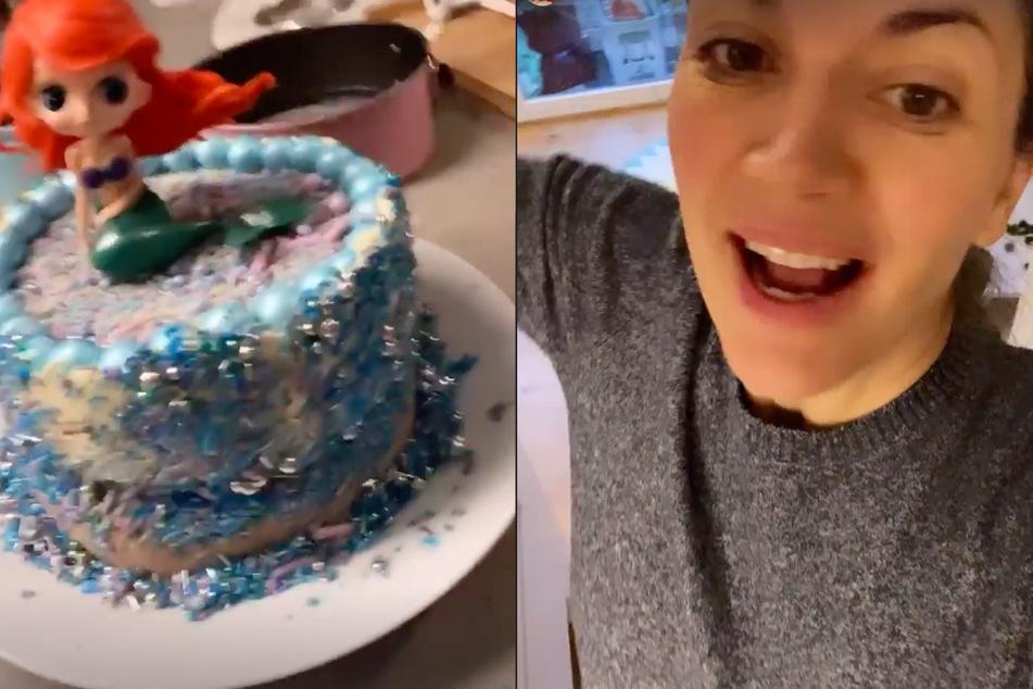 Nina Bott (42) präsentiert die Eistorte für Tochter Luna (5)