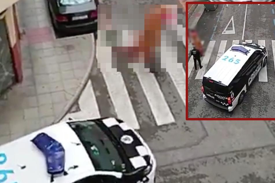 """Trotz Corona-Ausgangssperre: Spanische Polizei staunt, als sie """"das"""" auf der Straße entdeckt!"""