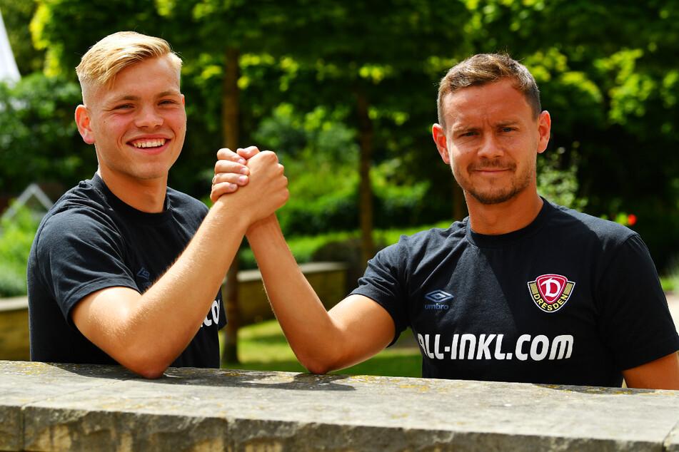 Vogtländer halten zusammen, auch bei Dynamo: Youngster Jonas Kühn (19, l.) wird von der Erfahrung eines Chris Löwe (32) garantiert profitieren.