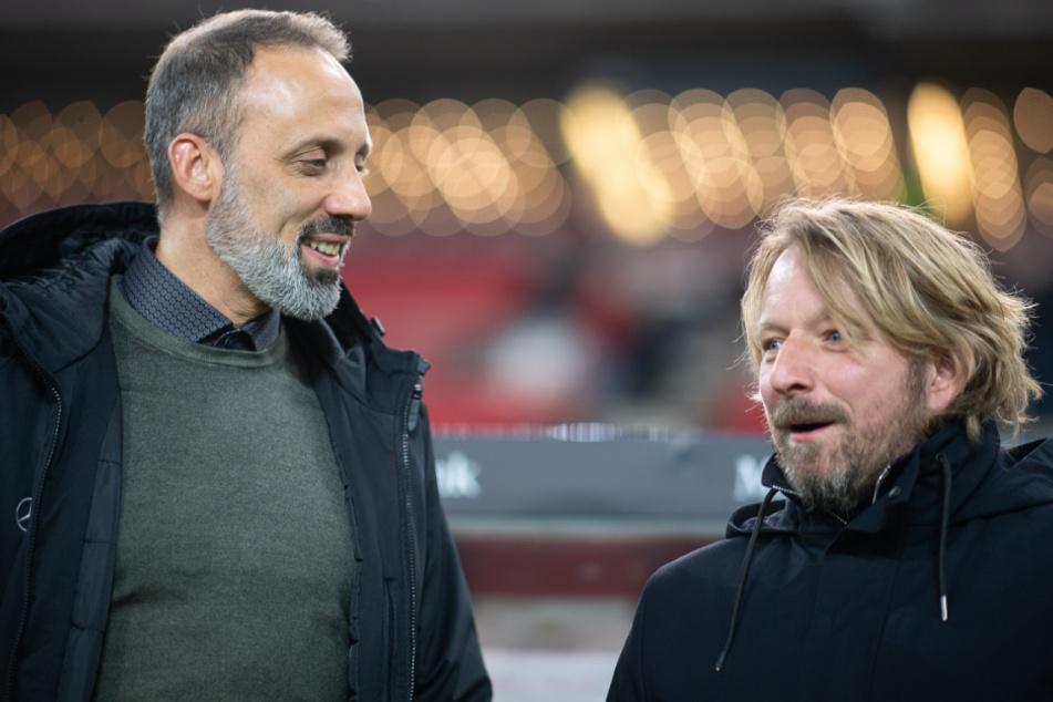 VfB-Sportdirektor Sven Mislintat (48, r.) hat Vertrauen in seinen Coach Pellegrino Matarazzo (43), dass dieser gegen Augsburg den richtigen Plan hat.