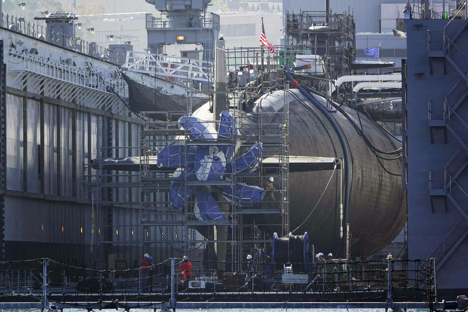 A United States Navy Los Angeles class nuclear-powered fast attack submarine is dry docked at Naval Base Point Loma.