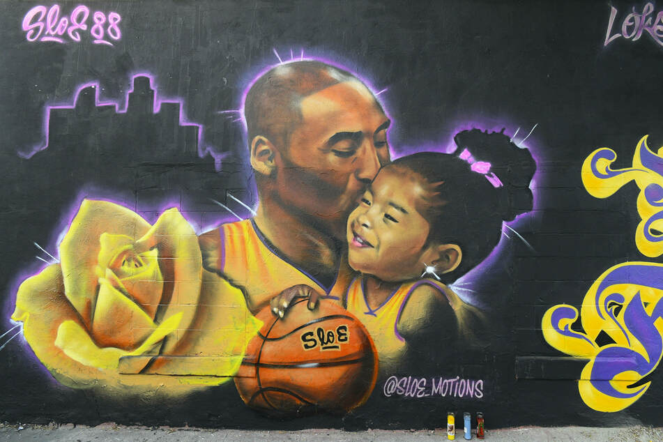 A mural honoring Kobe Bryant and his daughter Gianna in downtown Los Angeles, California.