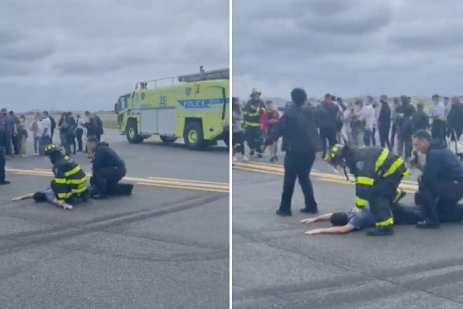 Video taken on the LaGuardia tarmac shows a man being detained by first responders.