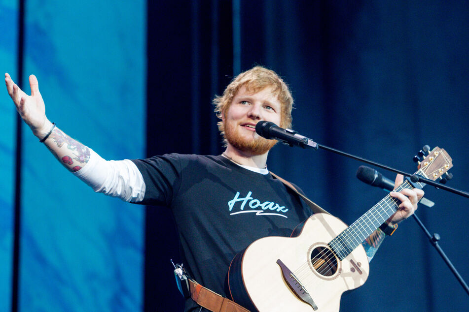 Ed Sheeran gives in concert at the Wanda Metropolitano Stadium in Madrid, Spain.