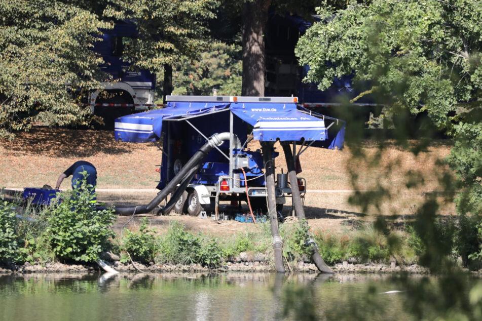 Das Technische Hilfswerk (THW) ist mit schwerem Gerät zum Abpumpen vor Ort.