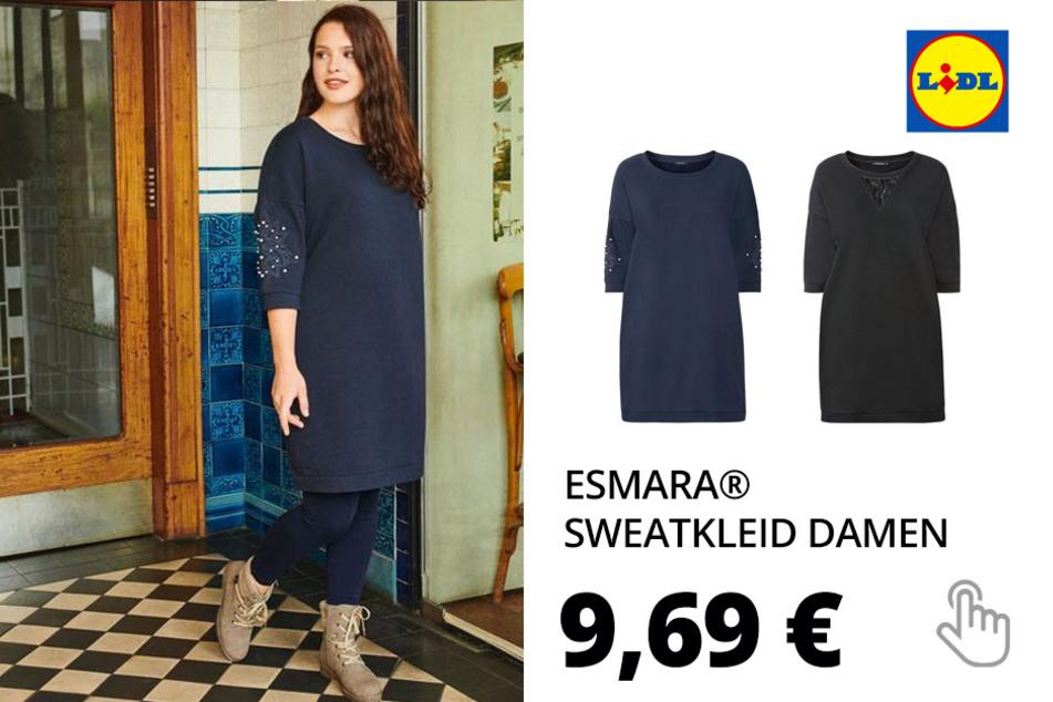 ESMARA® Sweatkleid Damen, mit Puffärmeln, mit Baumwolle