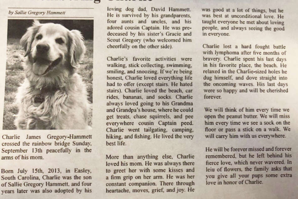 Sallie Gregory-Hammett wanted to do something special in honor of her dog and wrote an obituary for him.