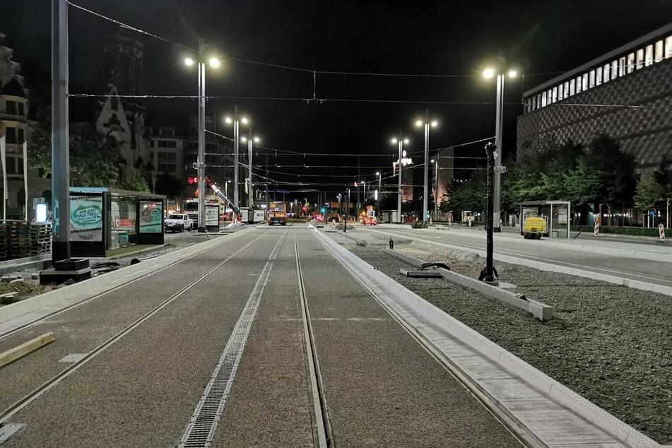 Die Haltestelle Goerdelerring nimmt langsam wieder Form an - zwei Bahnsteige können ab Montag wieder genutzt werdne.