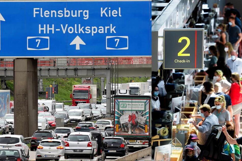 Auf den Autobahnen und am Flughafen steigt das Reiseaufkommen. (Symbolbilder)