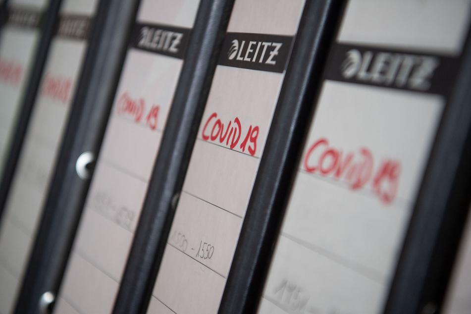 Ordner aus dem Kontaktpersonenmanagement des Gesundheitsamtes des Landkreises Esslingen liegen in einem Büro auf einem Regal.