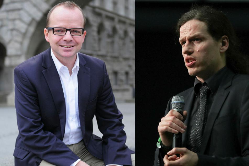 Die beiden Leipziger Rechtsanwälte René Hobusch (l.) und Jürgen Kasek (r.) reichen zusammen mit ihrem Dresdner Kollegen Mark Feilitzsch Klage gegen den Freistaat ein.