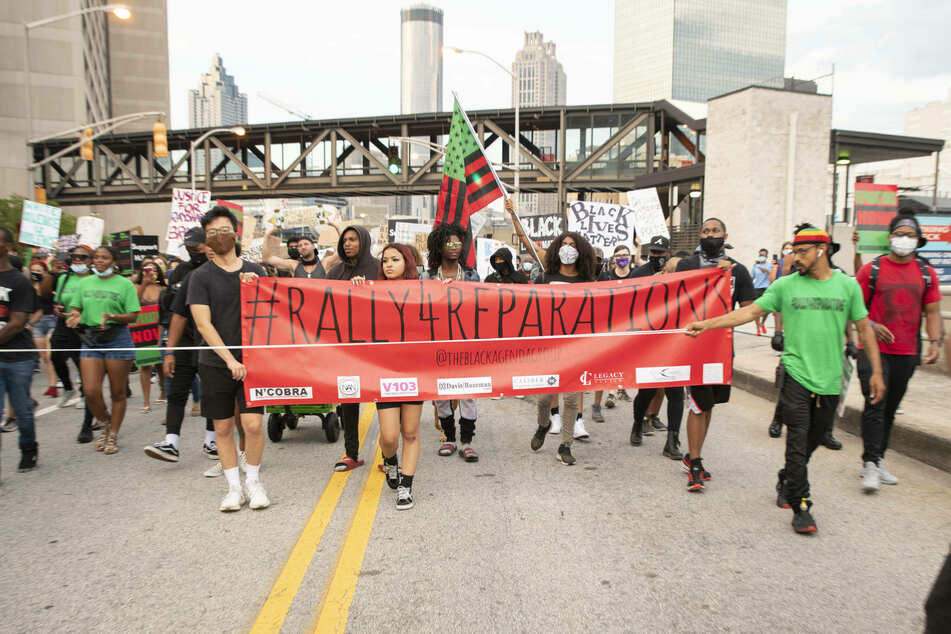 Activists gathered in Atlanta on July 4, 2020, for the Rally for Reparations protest.