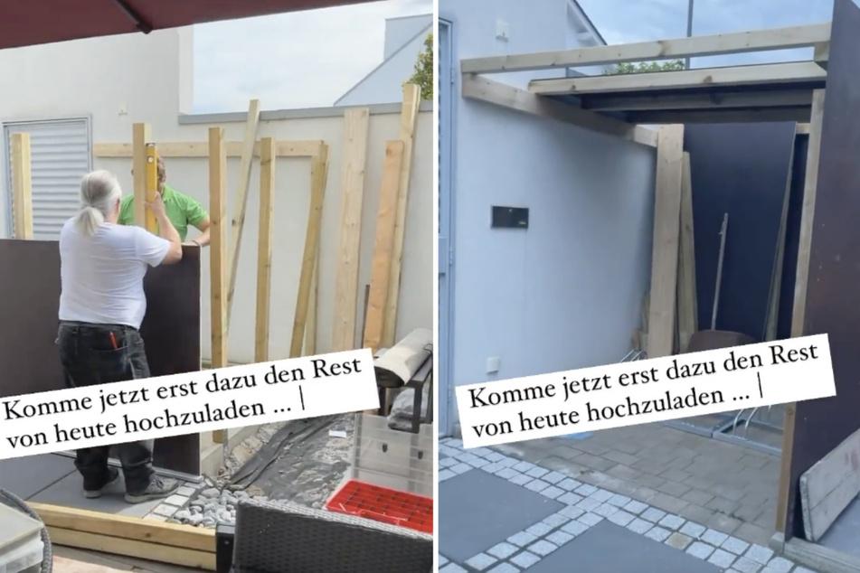 Um die Drahtesel der Familie in Zukunft vor Wind und Wetter zu schützen, entsteht auf dem Anwesen in Köln ein kleines Fahrrad-Haus.