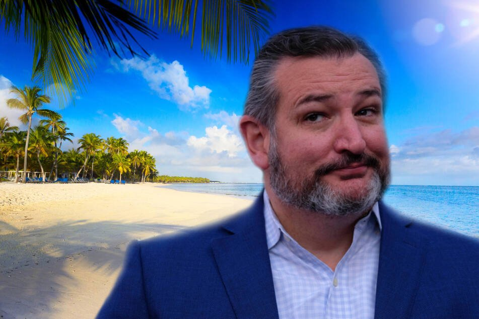 Ted Cruz is under fire for heading to Cancun, Mexico, while many of his constituents have been without power and heat (collage, stock image).