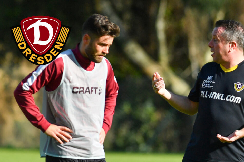 Dynamo-Trainer Kauczinski und Spieler Kreuzer feiern in Zwickau Geburtstag
