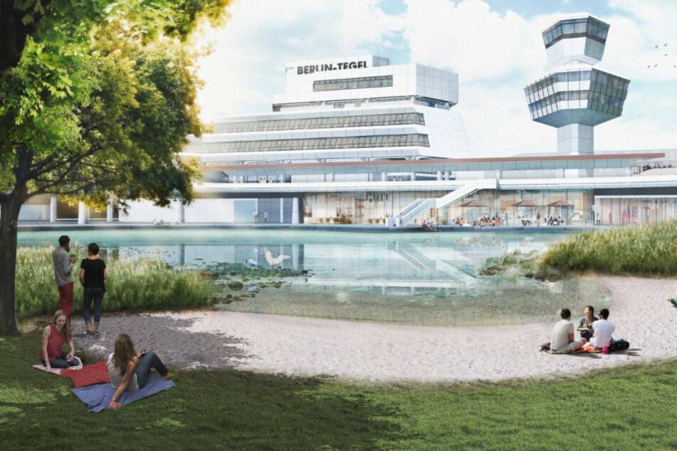 Tradition trifft auf Moderne: Eine Parkanlage mit See soll im Schatten des alten Flughafen-Towers entstehen. (Konzeptfoto)