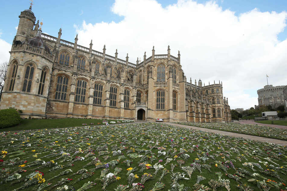 Floral tributes at Windsor Castle on the eve of the funeral of Prince Philip, the Duke of Edinburgh.