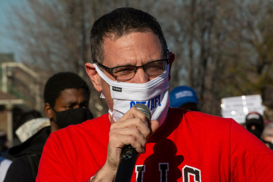 Teachers Union President Jesse Sharkey speaks to supporters and activists at a rally in Union Park, Chicago.