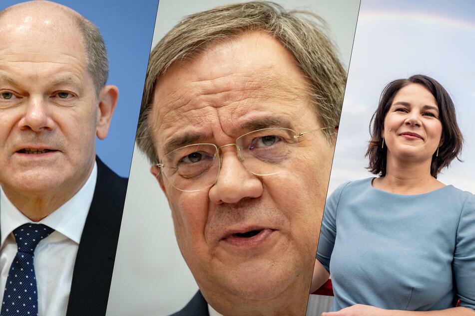 Olaf Scholz (63, SPD, v.l.n.r.), Armin Laschet (60, CDU) und Annalena Baerbock (40, Grüne) kämpfen um den Thron im Kanzleramt.