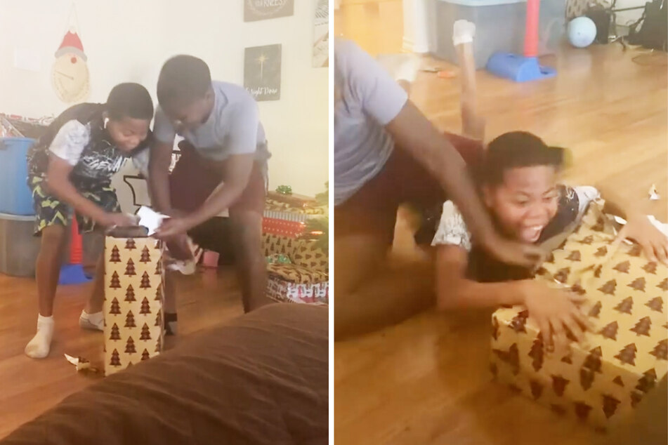 The teens can't contain their joy when they see what's under the wrapping paper.