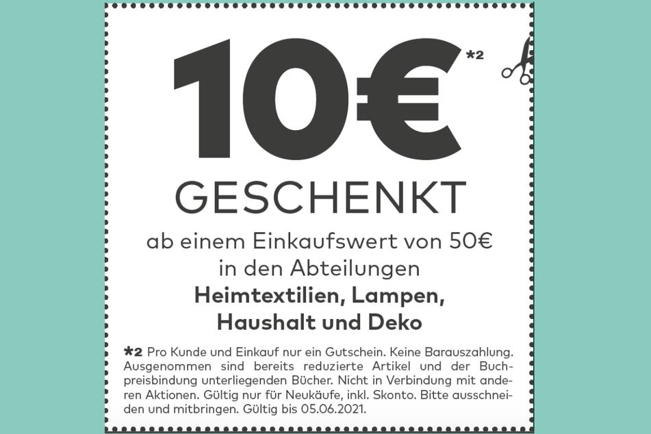 Diesen Gutschein vorzeigen, dann werden 10 Euro vom Einkaufspreis abgezogen.*²