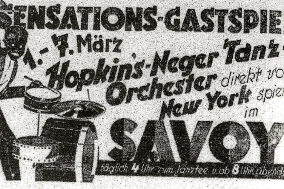 """Den ersten Jazz brachte 1926 das """"Hopkins-Neger Tanz-Orchester"""" von New York nach Dresden."""