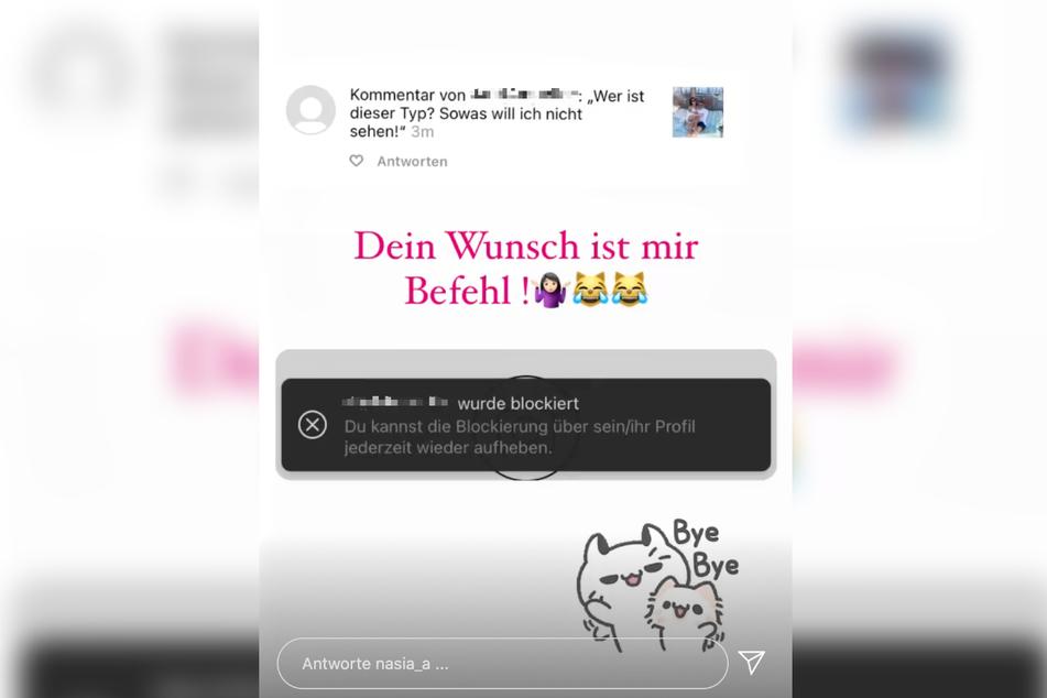 Das Bild zeigt einen Screenshot der Instagram-Story, die Dessous-Model und Reality-Darstellerin Anastasiya Avilova (32) am Donnerstag veröffentlichte.