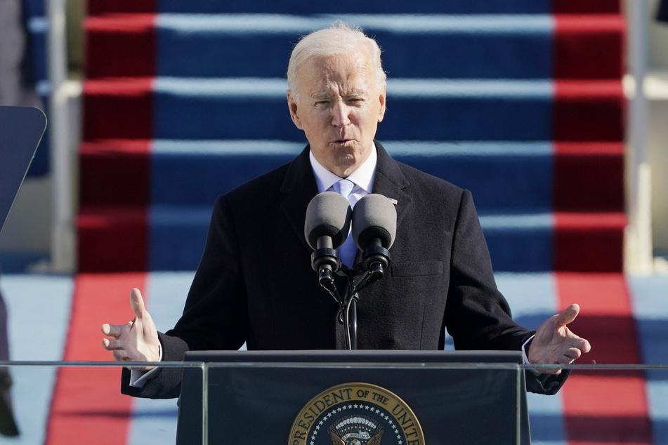 President Biden giving his inaugural address.