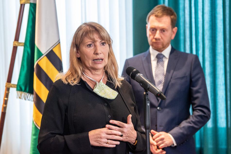 Sachsens Gesundheitsministerin Petra Köpping (62) und Ministerpräsident Michael Kretschmer (45, CDU).