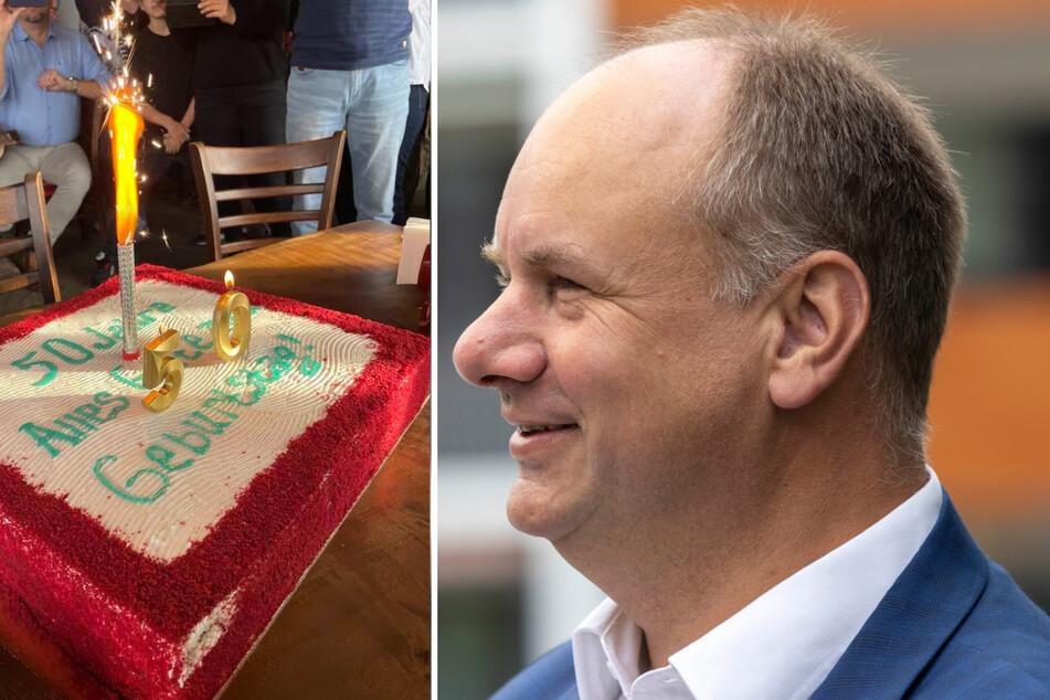 Dresden: Dickes Ding! OB Dirk Hilbert zeigt uns seine Geburtstagstorte