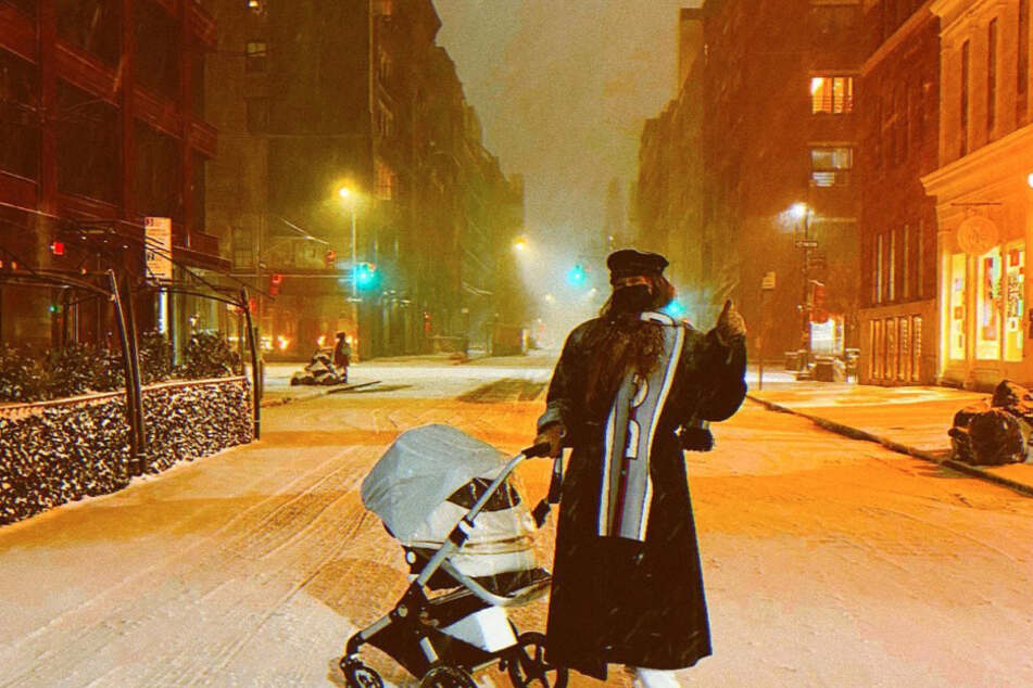 """Her first snow,"" supermodel Gigi Hadid captioned the post."