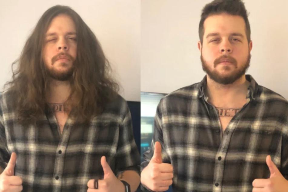 Dieser Mann hat sich die Haare wachsen lassen, um sie dann zu spenden.