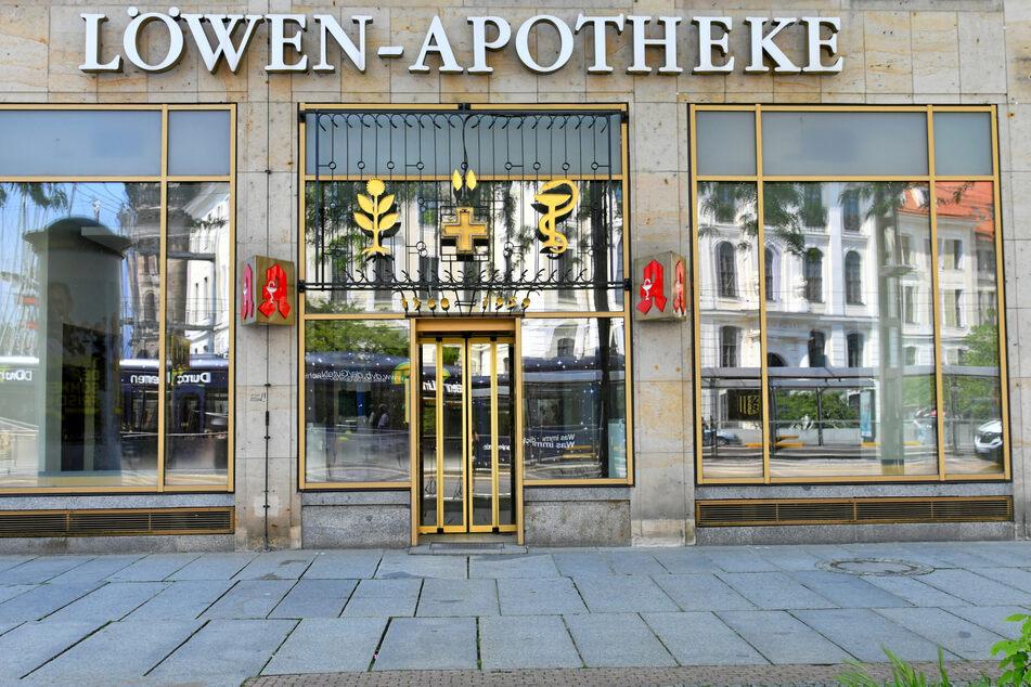 Die Löwen-Apotheke ist eines von vielen verwaisten Geschäften auf der Wilsdruffer Straße.