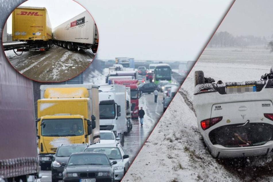 Chaos in Sachsen: Massenweise Schneeunfälle