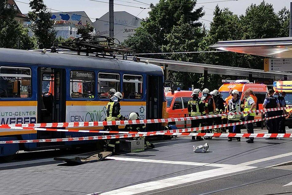 Die Tramlinie 7 in Richtung Sommerfeld hatte gegen 13.50 Uhr eine Person erfasst.