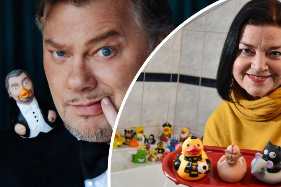 """Opernstar Rene Pape (56, links) hat seine eigene Badeente namens """"PapeDuck"""". Schauspielerin Kati Grasse (52) hat in ihrem Bad gleich mehrere Entchen versammelt."""