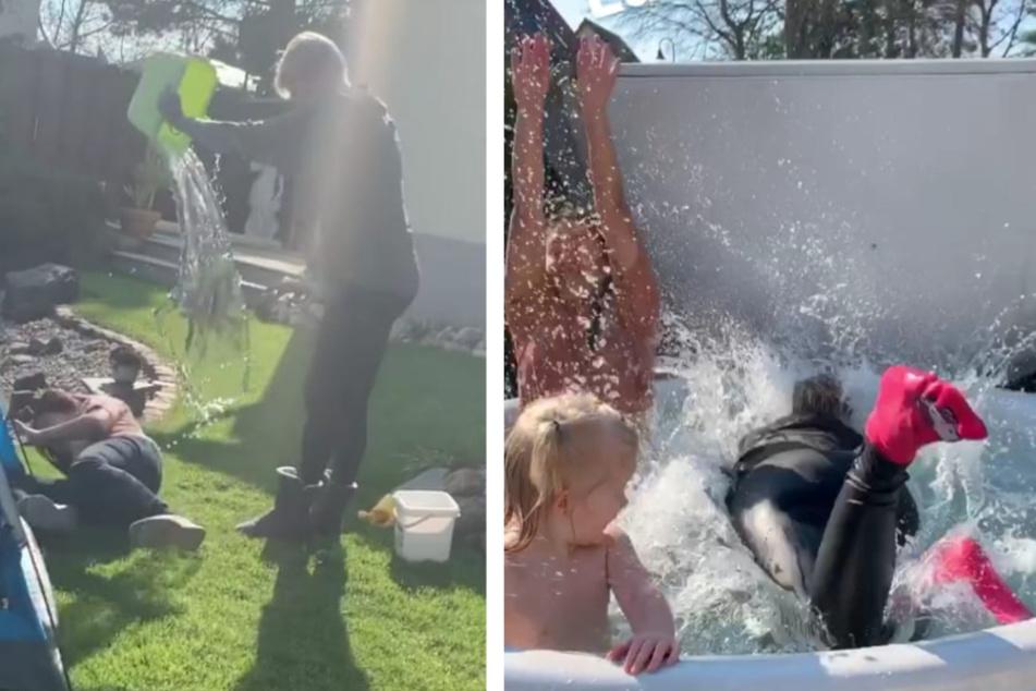 Valentina bekam eine Schüssel voller Wasser ab, ehe Melanie mit Klamotten in den Pool sprang.