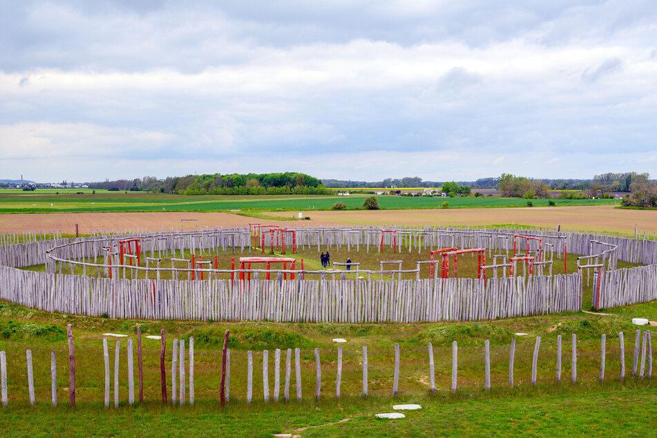 Aus Holz statt aus Steinen: Das rekonstruierte Ringheiligtum Pömmelte wird gern mit dem englischen Stonehenge verglichen.