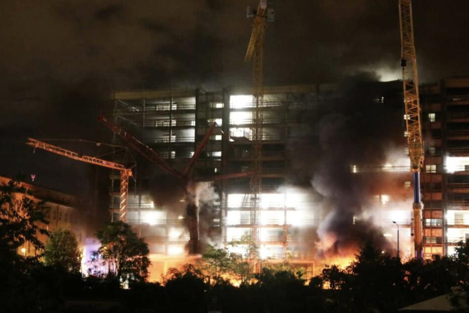Im Herbst 2019 setzten Linksextremisten eine Großbaustelle im Leipziger Osten in Brand. (Archiv)