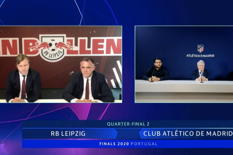 RB Leipzigs Sportdirektor Markus Krösche (l.) und Ulrich Wolter, Director Operations sowie Vertretern von Atletico Madrid (r.) reagierten auf die Auslosung.