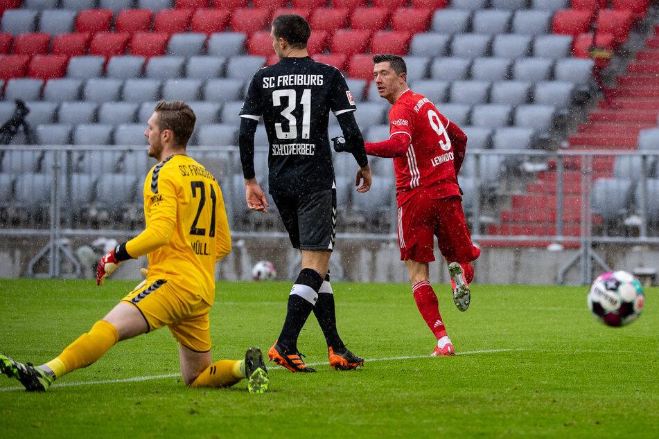 Robert Lewandowski (r.) erzielte für den FC Bayern München die frühe Führung im Bundesliga-Duell am 16. Spieltag gegen den SC Freiburg.